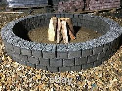 120 cm Dark gray fire pit granite slab fire place DIY Garden Patio bricks decor