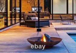 120cm Corten Steel Large Fire Pit and Water Bowl