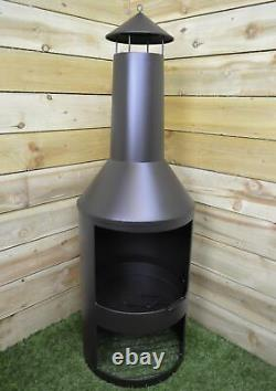 140cm Tall Outdoor Garden Patio Chiminea / Log Burner / Fire Pit with Log Store