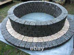 150cm Fire Pit granite concrete Fireplace slab dark gray Garden Patio Garden BBQ