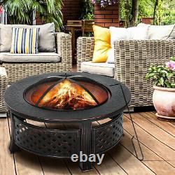 32 Fire Pit Firepit Brazier Bowl Garden Round Burner Heater Camping Outdoor