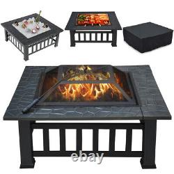 32'' Outdoor Garden Fire Pit Large 3in1Firepit Brazier Square Stove Patio Heater