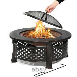 32 Round Fire Pit Firepit Brazier Bowl Garden Burner Heater Camping Outdoor