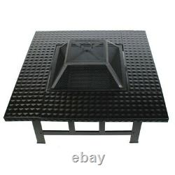 4 in 1 Fire Pit Table Top BBQ Grill & Ice Cooler Garden Patio Heater Log Burner