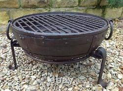40cm Fire Pit Indian Fire Bowl Set / Hand Worked Wrought Iron Indian Kadai