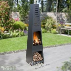5ft Chiminea Pyramid Log Burner Garden Fire Pit Wood Log Store Skyline Model