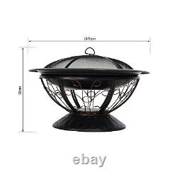 76cm Steel Round Outdoor Patio Fire Pit Wood Log Burning Heater withPoker Grate