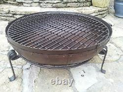 80cm Diameter Indian Kadai Fire Bowl Set Handmade from recycled steel sections