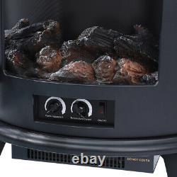 Adjustable Electric Fireplace LED Fire Flame Effect Log Wood Burner Heater Stove