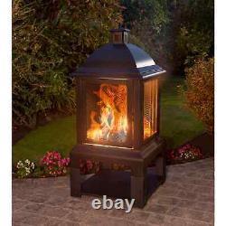 Aspen Large Log Burner With Log Tray Fire Pit Log Storage Outdoor Garden Heating