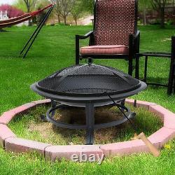 Black Fire Pit Grill Fire Bowl Chimenea Garden Bbq Outdoor Patio Heater Round