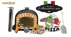 Brick outdoor wood fired Pizza oven 100cm Black Deluxe model (package deal)