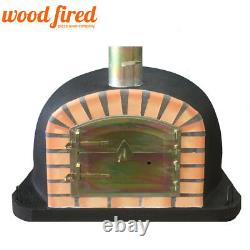 Brick outdoor wood fired Pizza oven 100cm Deluxe extra black orange arch