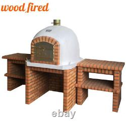 Brick outdoor wood fired Pizza oven 100cm Deluxe + matching stand and tables