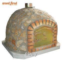 Brick outdoor wood fired Pizza oven 100cm Deluxe-stone with chim and cap