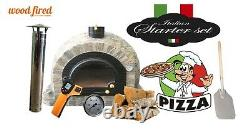 Brick outdoor wood fired Pizza oven 100cm Prestige solid cast iron door and base