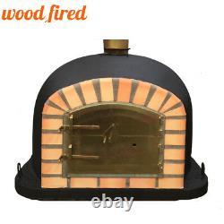 Brick outdoor wood fired Pizza oven 100cm brick Black Deluxe model