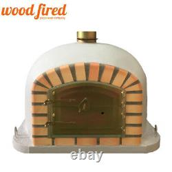 Brick outdoor wood fired Pizza oven 100cm light grey Deluxe model chimney mount