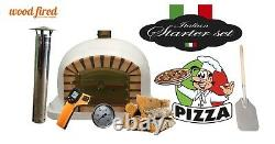 Brick outdoor wood fired Pizza oven 90cm White Deluxe model (package deal)