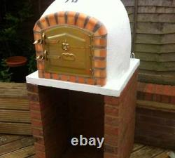 Brick wood outdoor fired Pizza oven 110cm white Deluxe model Wooden- BBQ-Quality