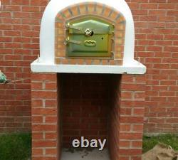 Brick wood outdoor fired Pizza oven 90cm white Deluxe model Wooden- BBQ-Quality