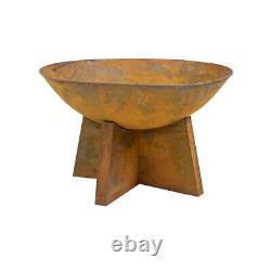 Charles Bentley 60cm Oxidised Rust Finish Fire Pit Minimalist Design Outdoor Use