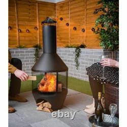 Chimenea Patio Heater Garden BBQ Fire Pit Outdoor Chimnea Steel Black Log Store
