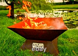 Corten Fire Pit/Steel Fire Pit/Metal/Patio Heater/Square/UK Made/
