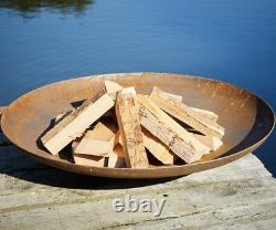 Curved Corten Steel Fire Pit Burner Dish Garden Heater Camping Rust Bonfire