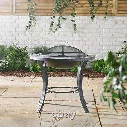 Dark Grey Mosaic Firepit BBQ Table 3-in-1 Fire Pit Barbecue Grill Garden Outdoor