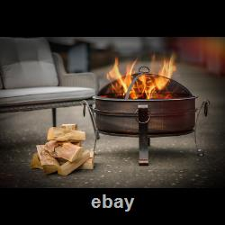 Dellonda 30 Deluxe 2-in-1 Outdoor Fire Pit & Coffee Table Antique Bronze Effect