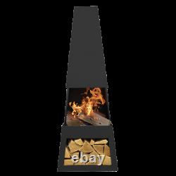 Dellonda Outdoor Chiminea Fireplace Fire Pit Heater Firewood Storage Black Steel