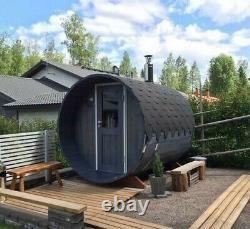 Deluxe Outdoor Barrel sauna full rear glass wall Heater M3 wood fired heater