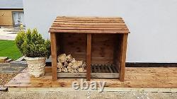 Double Bay 4ft Wooden Outdoor Log Store, Fire Wood Storage Shed Hand Made