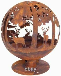 Esschert Design Fallen Fruits Oxidised Woodland Globe Sphere Fire Pit Basket