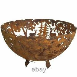 Fallen Fruits Oxidised Rust Effect Woodland Fire Pit Basket Bowl Cast Iron FF262