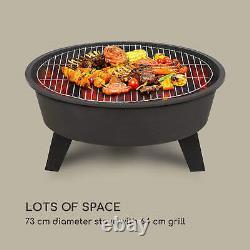 Fire Bowl Firepit Garden BBQ Patio Heater Ø73cm Grill Grate Poker Black
