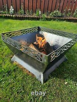 Fire Pit BBQ Outdoor Garden patio mild steel iron camping rustic celtic knot