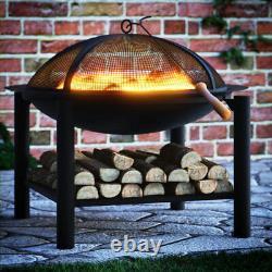 Fire Pit Bowl Garden Outdoor Firepit Basket Grill Brazier Heater Patio Camping
