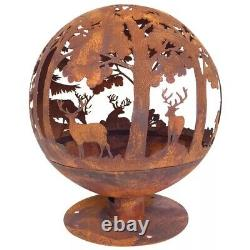 Fire Pit Globe With Laser Cut Woodland Pattern Rustic Look Outdoor Garden