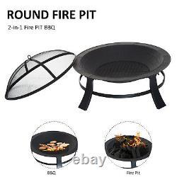 Fire Pit Heater Brazier Round Garden Cover Metal Black 30 Outdoor