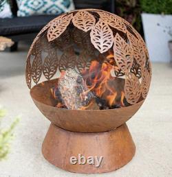 Fire Pit for Garden -La Hacienda Leaves Fire Globe- Patio Heater- Oxidised Steel