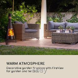 Firepit Heater Garden Fireplace Patio Outdoor Fire Bowl Stainless Steel Black