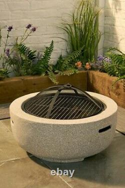Fireplace Round Fire Pit BBQ Stone Effect Garden Patio Deck Wood Burner Heater