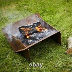 Flat Pack Minima Corten Steel Fire Pit Outdoors Burner Patio Heater Camping