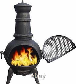 GARDEN CAST IRON CHIMENEA CHIMNEA CHIMINEA PATIO HEATER WOOD FIRE PIT 85cm