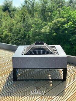 GSD Fire Pit Large Faux Concrete Round MgO BBQ Grill Bowl for Garden/Patio