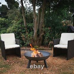 Garden Fire Pit Cast Iron Outdoor Brazier Style Flame Basket Patio Heater, 75cm