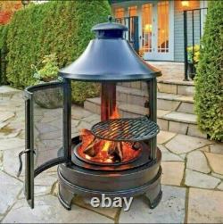 Garden Fire Pit & Grill BBQ Barbecue Steak + Swing Out Iron Summer Garden