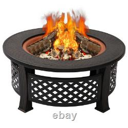 Garden Round Fire Pit BBQ Grill Firepit Brazier Log Burner Heater Patio Stove XL